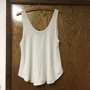 Cream sheer flowy tank top